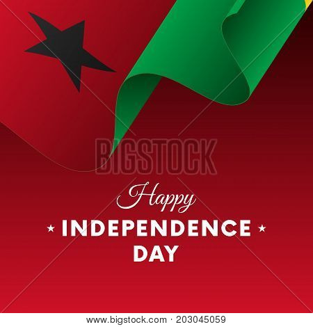 Banner or poster of Guinea-Bissau independence day celebration. Waving flag. Vector illustration.