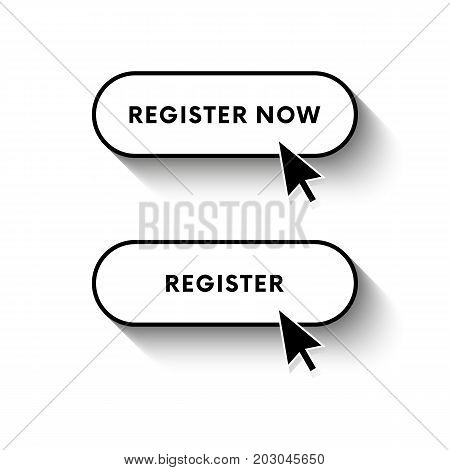 Register now button. Register button. Long shadow. Vector illustration.
