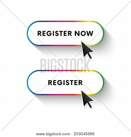 Register now button. Register button. Spectrum gradient. Long shadow. Vector illustration.