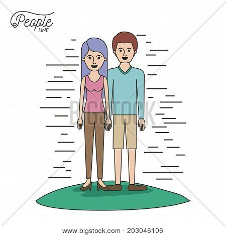 caricature couple people line woman in blouse and pants with side long hair and man standing casual clothes in grass on white background vector illustration