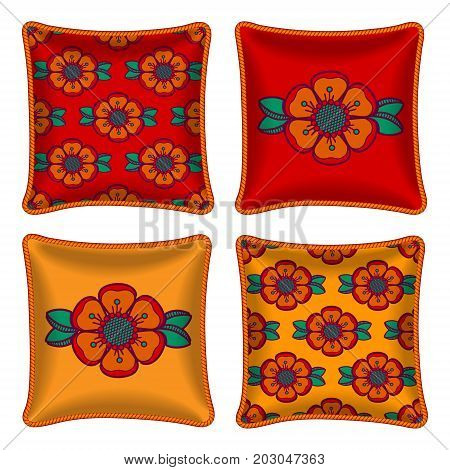 Set of four matching decorative pillows for interior design. Colorful floral pattern in on bright red and orange background. Vector illustration. Four throw pillows graphic orange flowers.