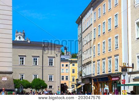 Salzburg, Austria - May 01, 2017: The people at old town in Salzburg, Austria on May 01, 2017