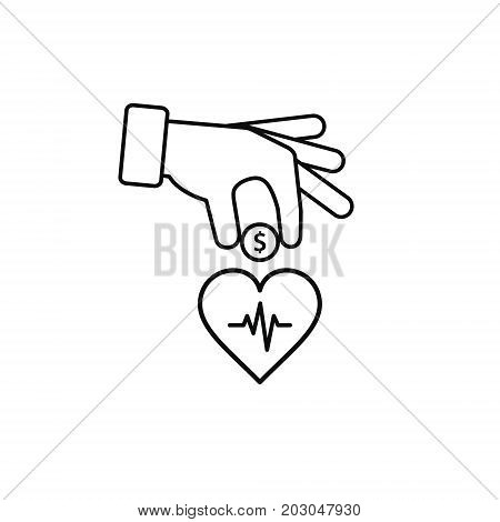 Hand put coin in heart outline illustration. Invest in your health illustration.