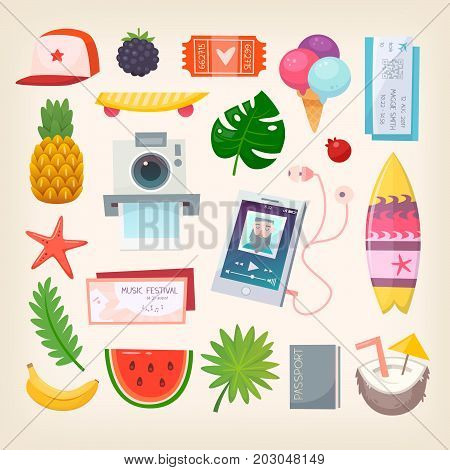 Set of colorful pictures of elements and icons to represent hot adventurous summer season. Vector illustration.