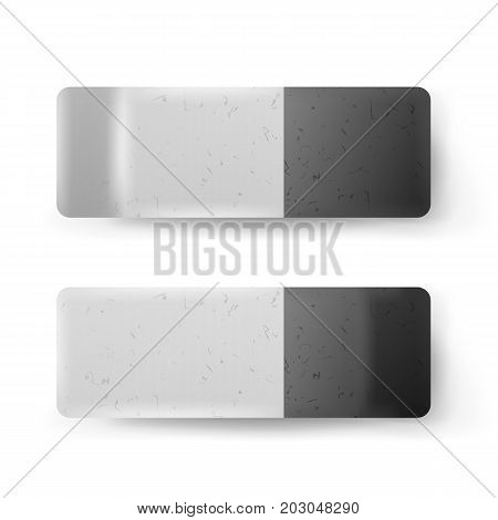 Realistic Eraser Isolated Vector. Classic Grey White Rubber Icon