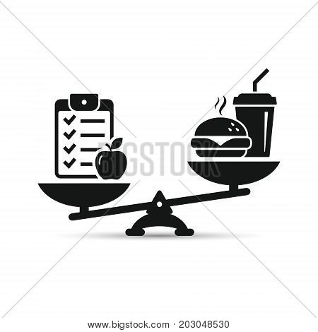 Scales with checklist and fast food icon. Balance between healthy and unhealthy food. Vector.