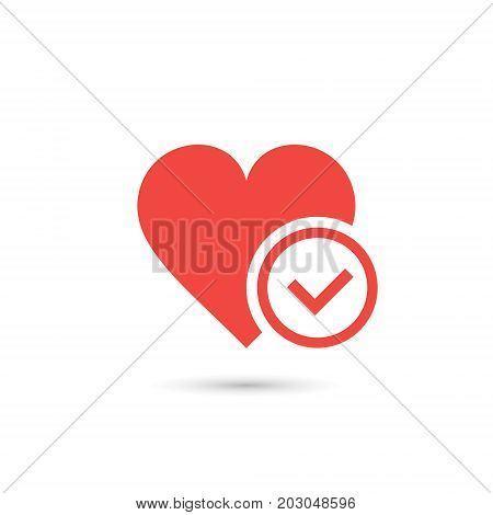 Heart with yes check mark. Vector simple illustration.