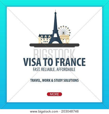 Visa To France. Travel To France. Document For Travel. Vector Flat Illustration.