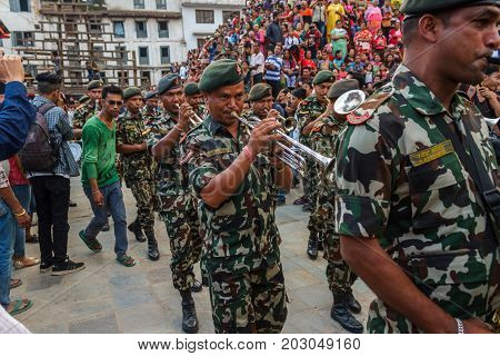 KATHMANDU NEPAL - 9/26/2015: The Nepalese military band performs during the Indra Jatra festival at Durbar Square in Kathmandu Nepal.
