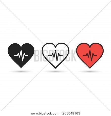 Heart beat pulse flat icon set. Vector symbol.