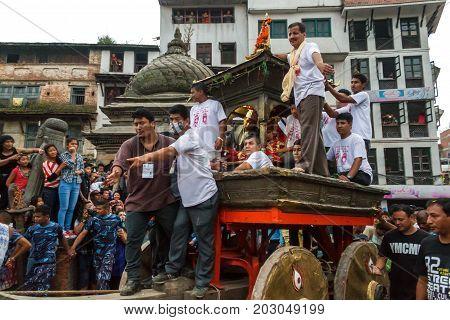 KATHMANDU NEPAL - 9/26/2015: The Kumari or