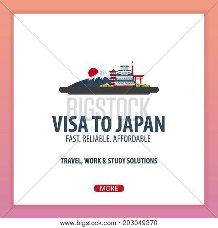 Visa To Japan. Travel To Japan. Document For Travel. Vector Flat Illustration.