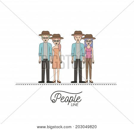 caricature double couple young people line with casual clothes and hats standing with hairstyle on white background vector illustration