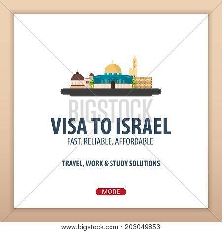 Visa To Israel. Document For Travel. Vector Flat Illustration.