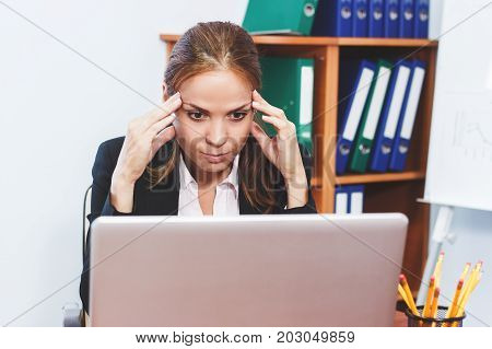 Woman Concentrated On Work, Office Concept