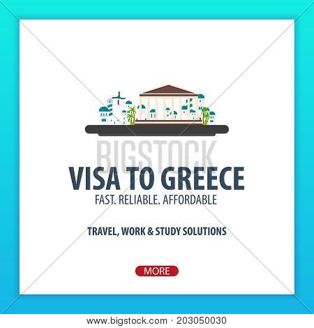Visa To Greece. Document For Travel. Vector Flat Illustration.