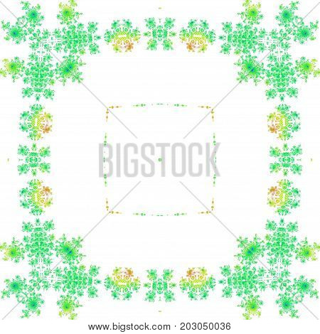 Green symmetry floral vintage frame square background