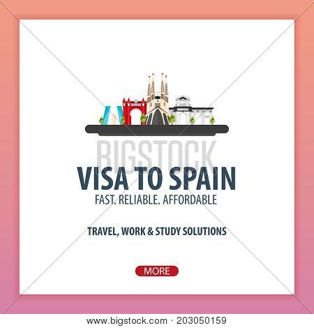 Visa To Spain. Document For Travel. Vector Flat Illustration.