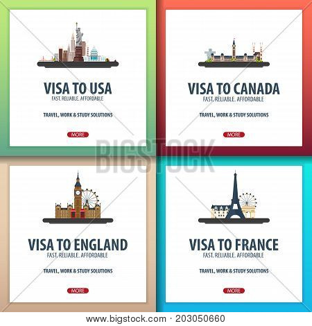 Visa To Usa, Canada, England, France. Document For Travel. Visa Application Centre.