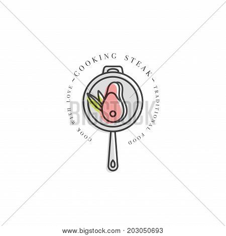 Cooking class linear design element, kitchen emblem, symbol, icon or steak cooking label. Logotype of grilled meat on a frying pan