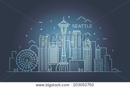 Minimal Seattle City Linear Skyline. Thin style