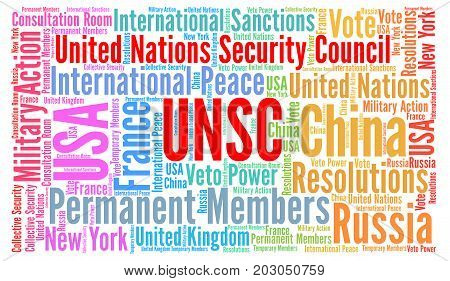 UNSC word cloud with a white background