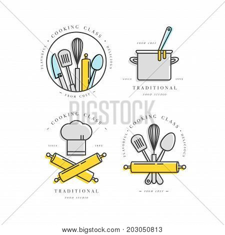 Cooking class linear design elements, set of kitchen emblems, symbols, icons or food studio labels and badges collection. Cooking courses signs template or logo, identity, culinary school.