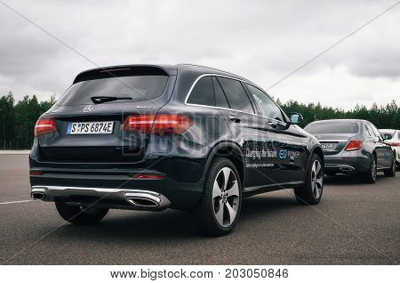 Minsk Belarus - August 26 2017: Rear view of Mercedes-Benz GLC 350 e Plug-In Hybrid close up.