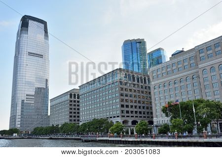 JERSEY CITY - AUG 23: Goldman Sachs Tower is the tallest building in New Jersey. August 23 2017 in Jersey City New Jersey