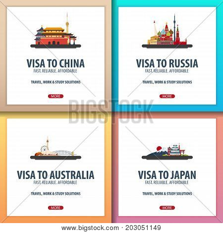 Visa To China, Russia, Australia, Japan. Document For Travel. Visa Application Centre.