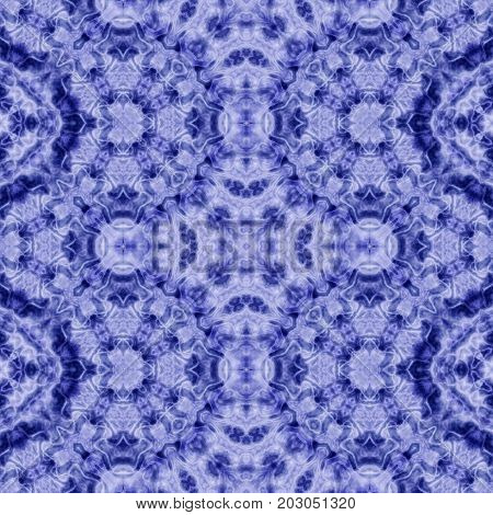 Symmetry computer generated render blue seamless pattern