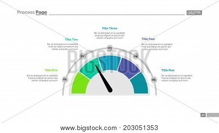 Semicircle diagram slide template. Business data. Graph, diagram, design. Creative concept for infographic, templates, presentation, marketing, report. Can be used for topics like speed, marketing, progression