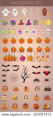Big set of cartoon symbols for party design. Eps 10 vector illustration