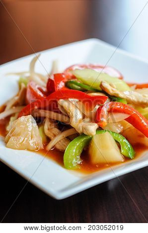 Stir-fried Sweet & Sour, Stir-fried with pineapple, onions, tomatoes, cucumbers and bell peppers