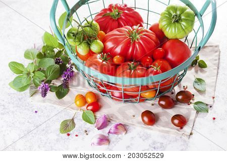 fresh tomatoes on the table - fruits and vegetables