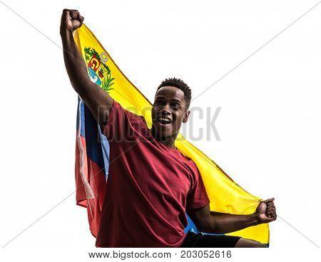 Venezuelan Fan / Sport Player celebrating on white background