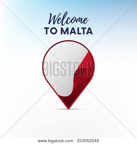 Flag of Malta in shape of map pointer or marker. Welcome to Malta. Vector illustration.