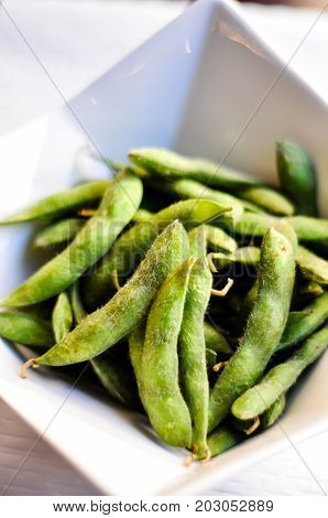 Edamame, A healthy steamed soy bean appetizer
