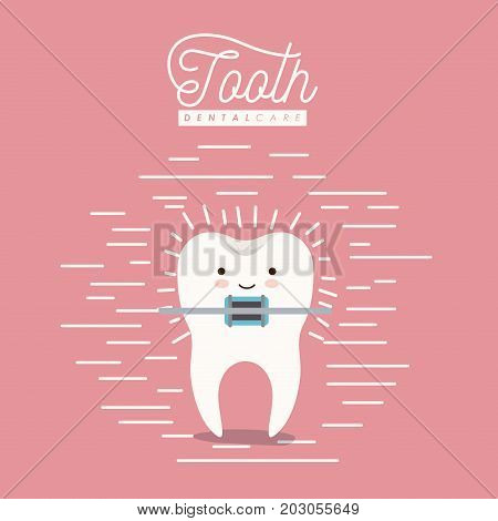 kawaii caricature tooth with brace dental care with happiness expression on color poster with lines vector illustration