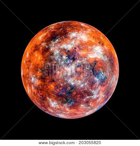 Fiery hot exoplanet high resolution texture computer generated abstract background isolated 3D rendering