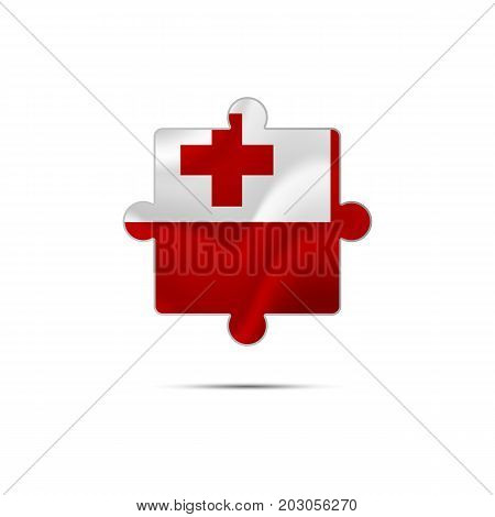 Isolated piece of puzzle with the Tonga flag. Vector illustration.