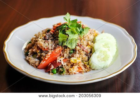Chili Paste Fried Rice, Stir-fried with egg, carrots, green peas, onions and chili paste