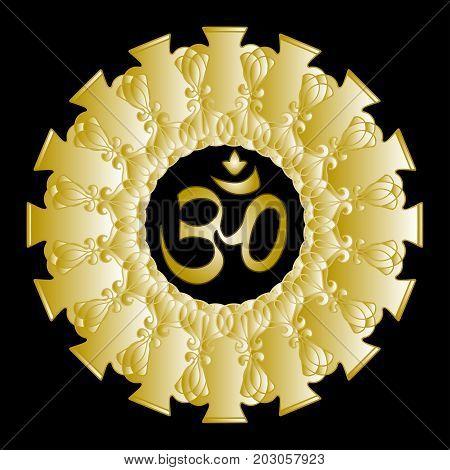 Diwali Ohm symbol with golden mandala. Isolated on background. Vector