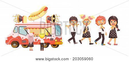 Stock vector illustration isolated characters children, pupils, schoolboys and schoolgirls buy fast food, sandwiches, hot dogs, sausage from car, meals on wheels, street food, school snack flat style