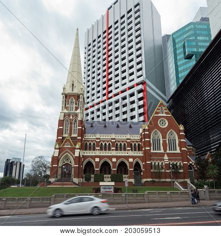 Brisbane, Australia - July 9, 2017: Albert Street Uniting Church in central Brisbane was built in 1888 in gothic style. The Uniting Church has 1 million members in Australia.