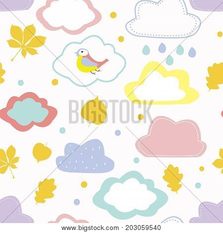 Autumn seamless pattern for kids with clouds leaves and birds - cute design. Vector graphic illustration