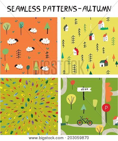 Autumn seamless nature pattern set for tourism and travel. Vector graphic illustration