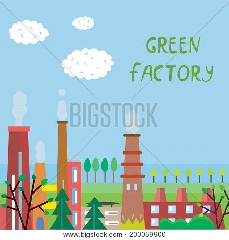 Eco factory background with plant and trees vector graphic illustration