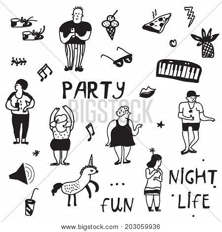 Party icons doodle set funny design vector graphic illustration