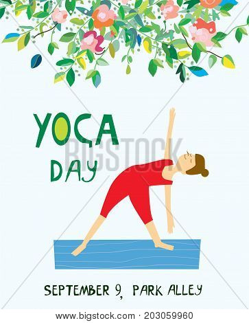 Yoga day banner with girl and flowers nice design vector graphic illustration